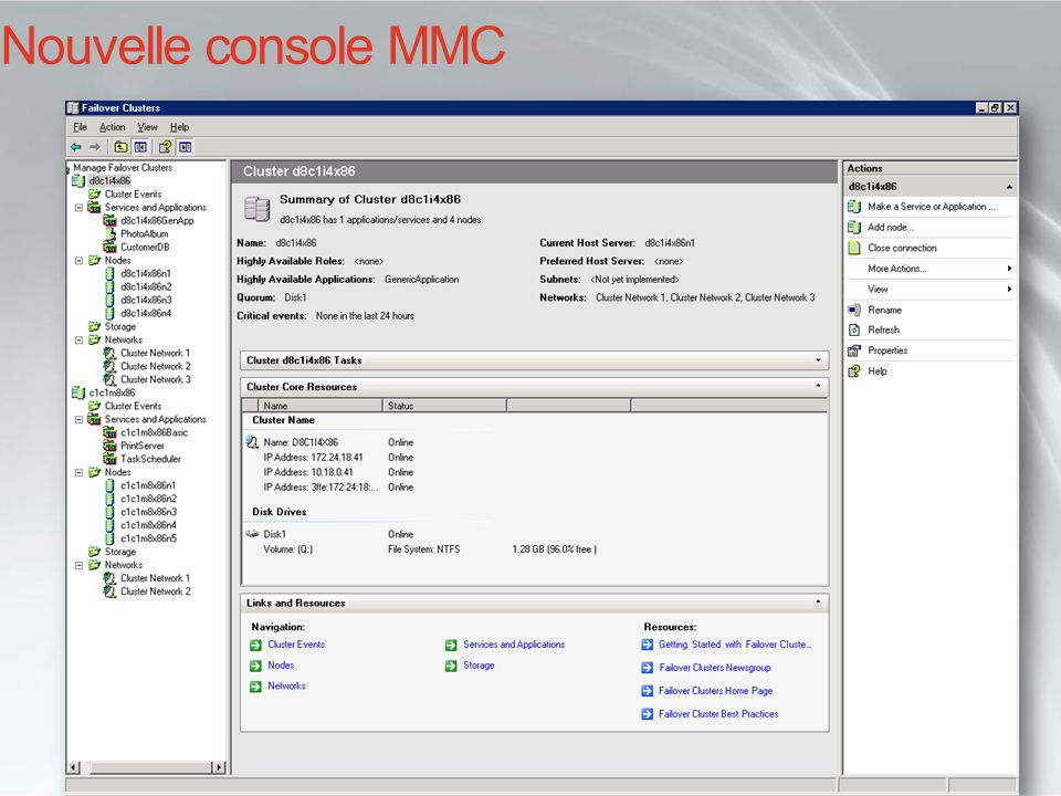 Nouvelle console MMC Cluster Administrator aujourd'hui… INF210