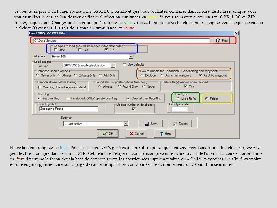 Si vous avez plus d un fichier stocké dans GPX, LOC ou ZIP et que vous souhaitez combiner dans la base de données unique, vous voulez utiliser la charge un dossier de fichiers sélection surlignées en jaune. Si vous souhaitez ouvrir un seul GPX, LOC ou ZIP fichier, cliquez sur Charger un fichier unique surligné en vert. Utilisez le bouton «Rechercher» pour naviguer vers l emplacement où le fichier (s) existent. Il s agit de la zone en surbrillance en rouge.