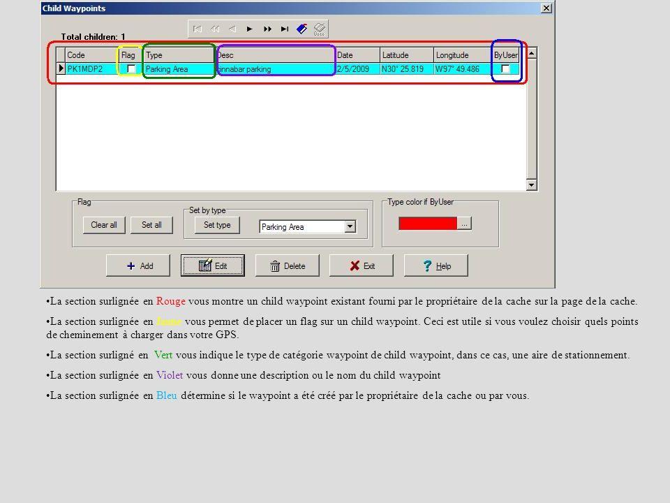 La section surlignée en Rouge vous montre un child waypoint existant fourni par le propriétaire de la cache sur la page de la cache.