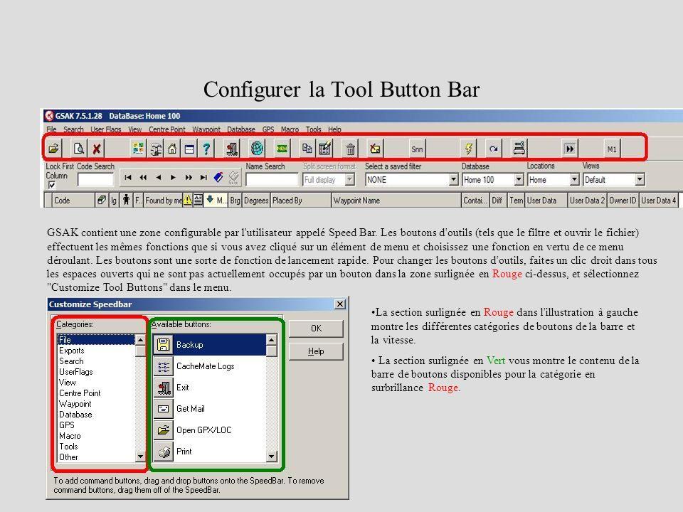 Configurer la Tool Button Bar