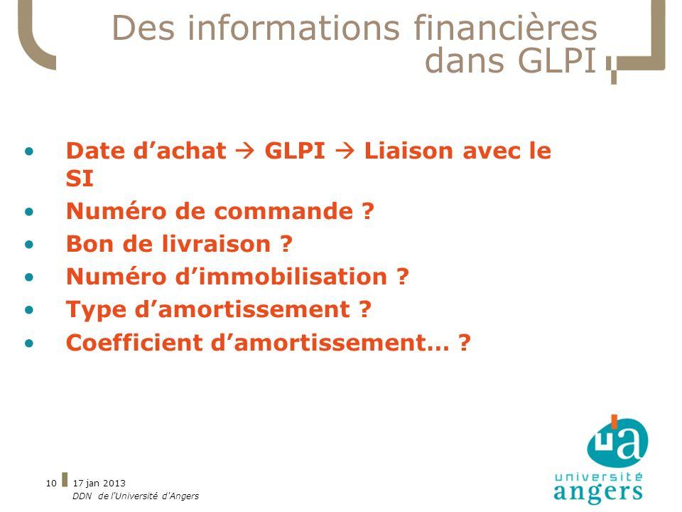 Des informations financières dans GLPI