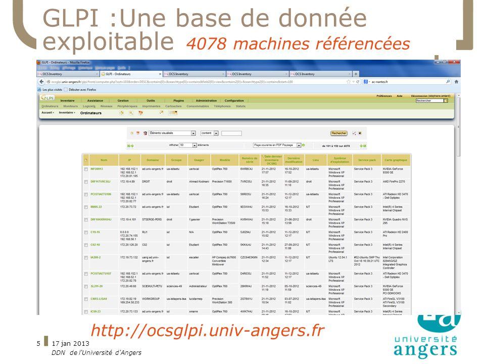 GLPI :Une base de donnée exploitable