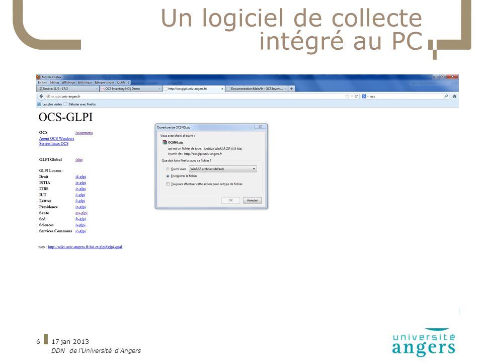 Un logiciel de collecte intégré au PC