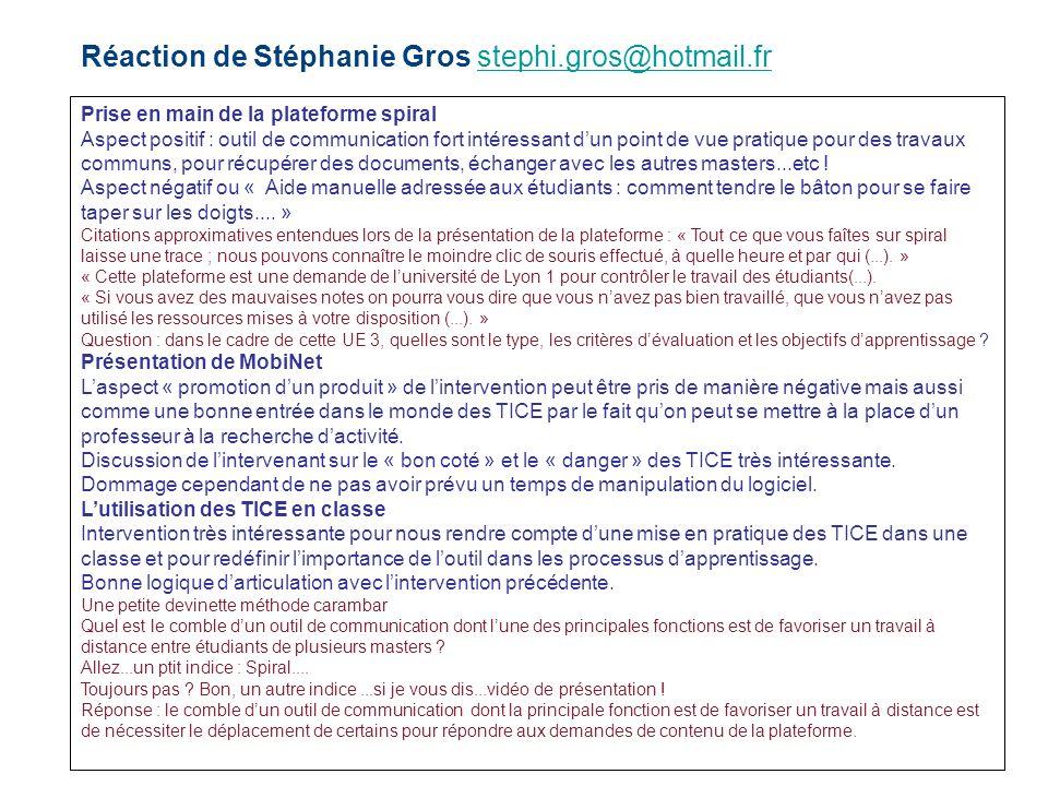 Réaction de Stéphanie Gros stephi.gros@hotmail.fr