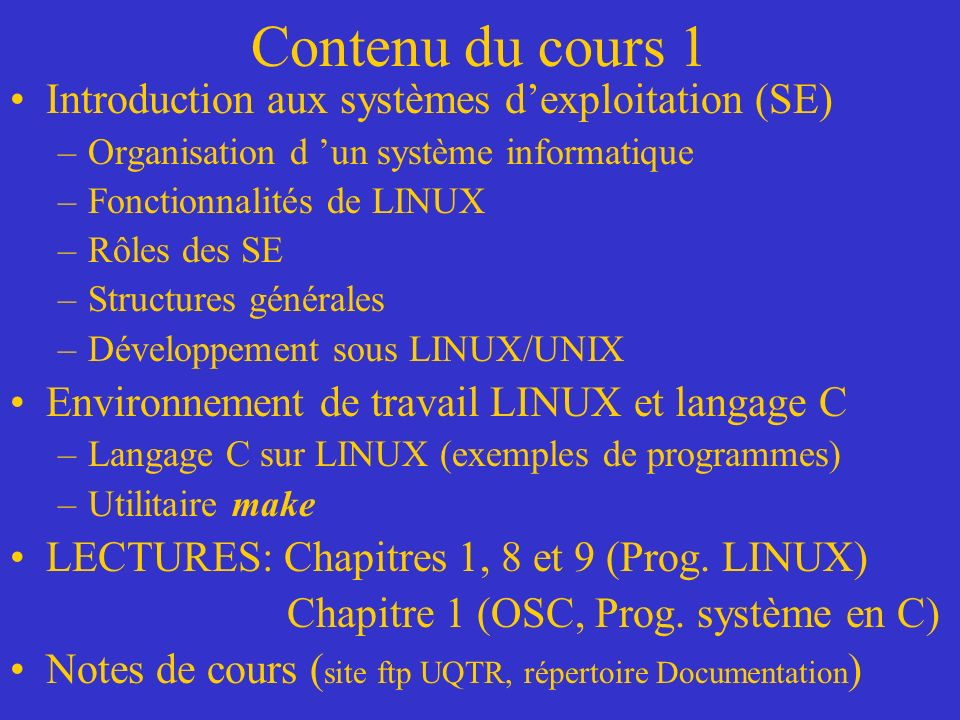 Contenu du cours 1 Introduction aux systèmes d'exploitation (SE)
