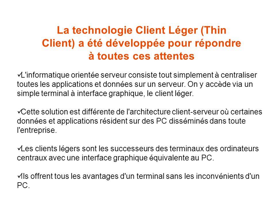 La technologie Client Léger (Thin Client) a été développée pour répondre à toutes ces attentes