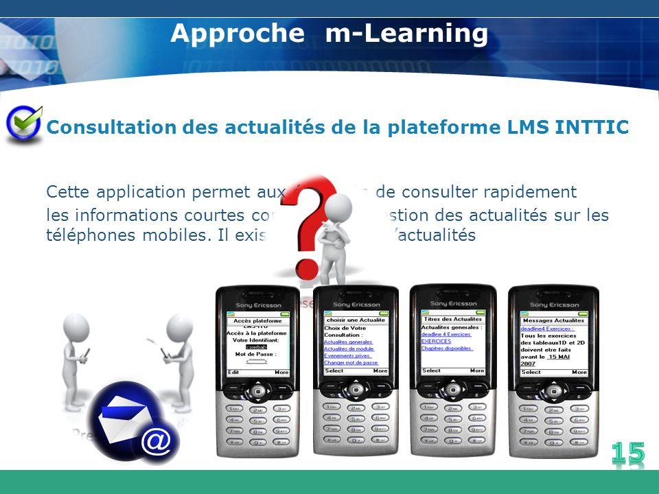 Approche m-Learning Consultation des actualités de la plateforme LMS INTTIC. Cette application permet aux étudiants de consulter rapidement.