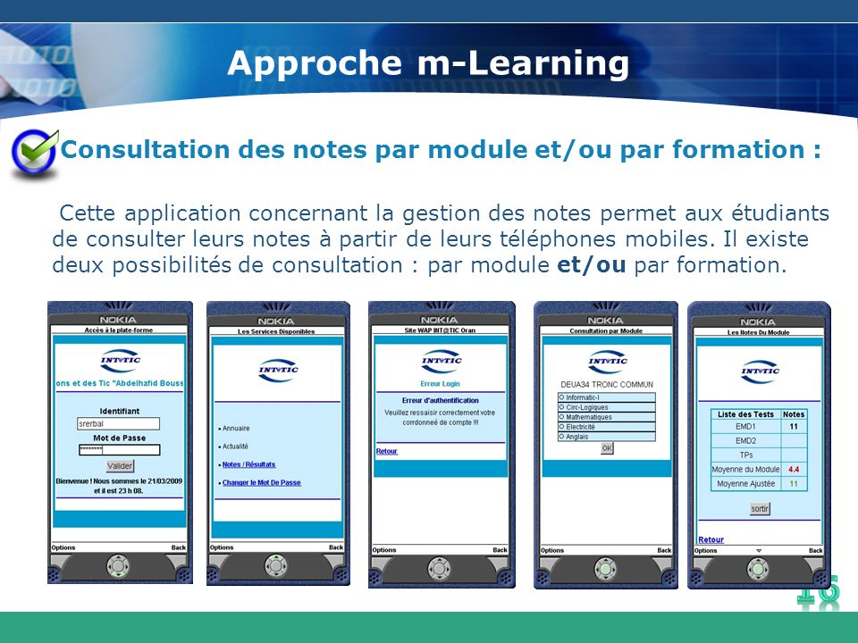 Approche m-Learning Consultation des notes par module et/ou par formation :