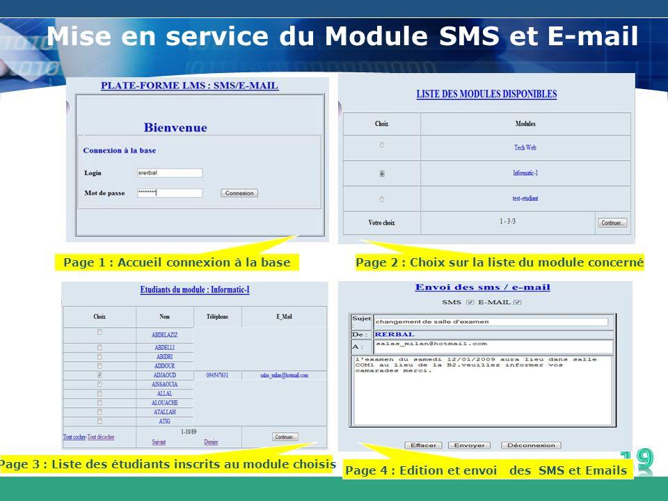 Mise en service du Module SMS et E-mail