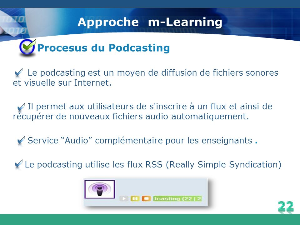 Approche m-Learning Procesus du Podcasting