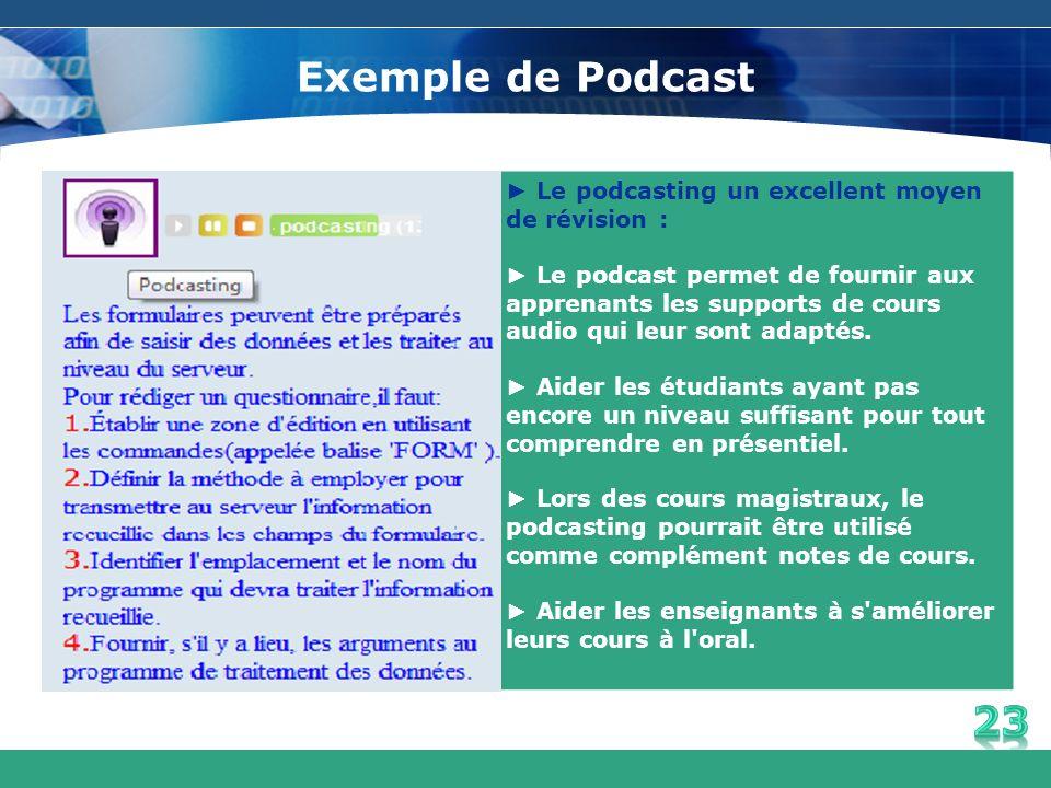 Exemple de Podcast ► Le podcasting un excellent moyen de révision :