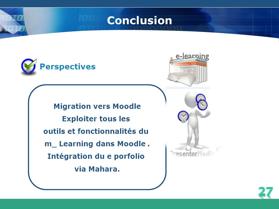 Conclusion Perspectives Migration vers Moodle