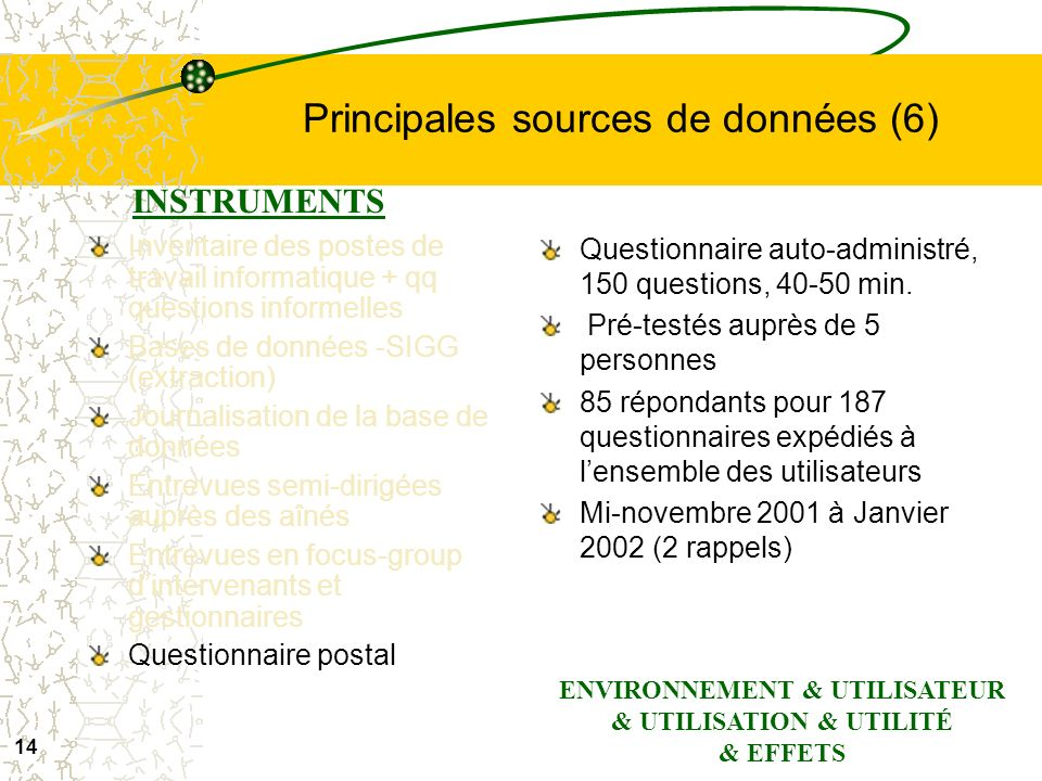 Principales sources de données (6)