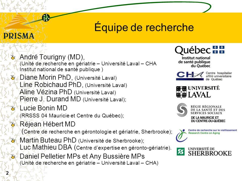 Équipe de recherche André Tourigny (MD), (Unité de recherche en gériatrie – Université Laval – CHA Institut national de santé publique )
