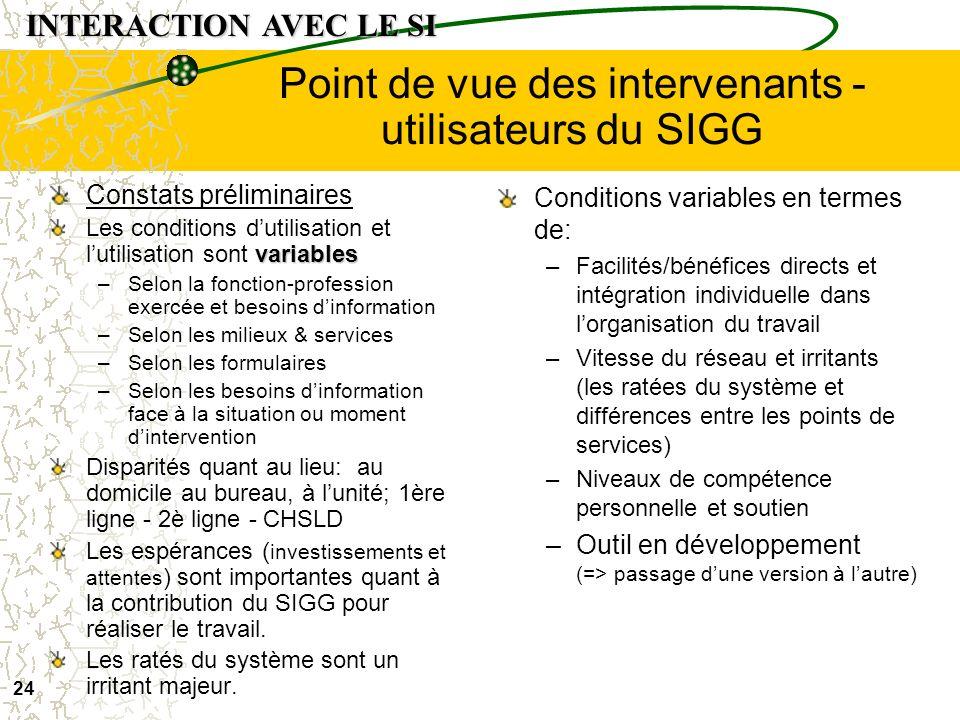 Point de vue des intervenants - utilisateurs du SIGG