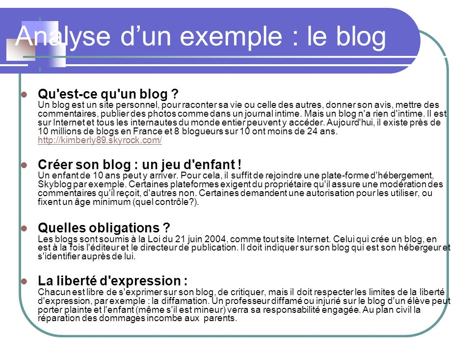 Analyse d'un exemple : le blog