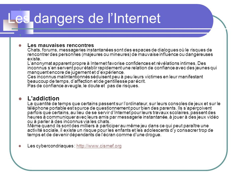 Les dangers de l'Internet