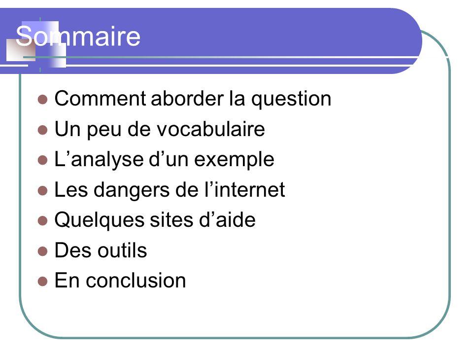 Sommaire Comment aborder la question Un peu de vocabulaire