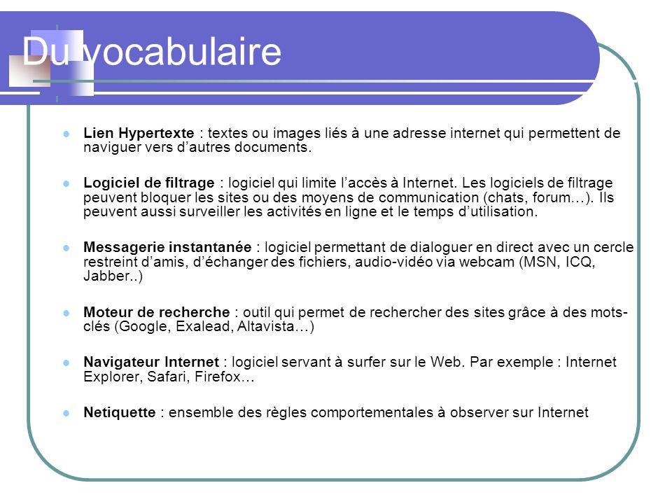 Du vocabulaire Lien Hypertexte : textes ou images liés à une adresse internet qui permettent de naviguer vers d'autres documents.