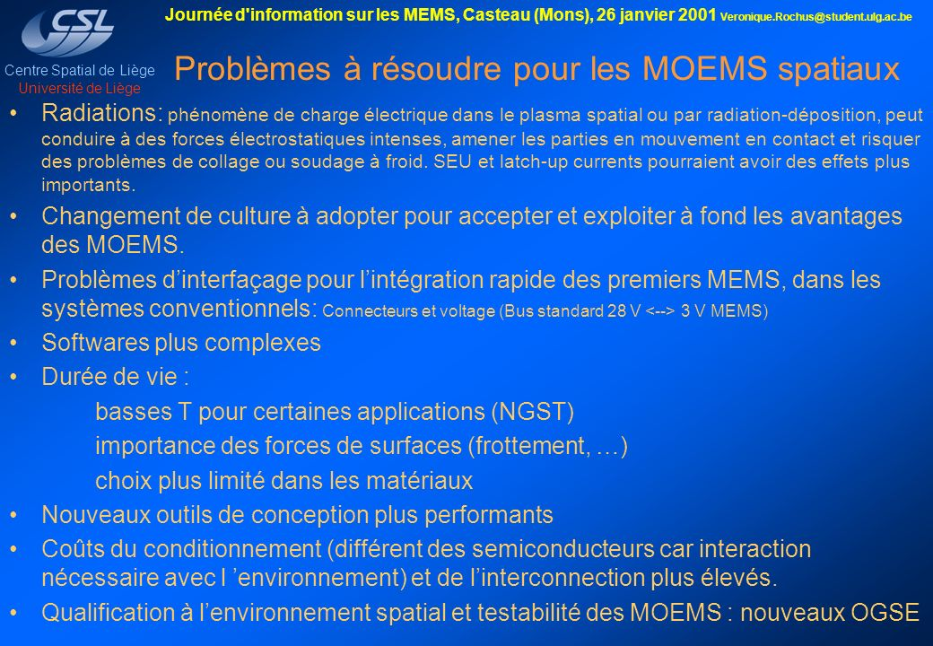 Problèmes à résoudre pour les MOEMS spatiaux