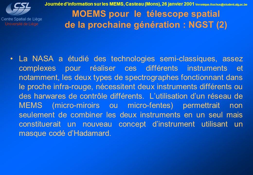 MOEMS pour le télescope spatial de la prochaine génération : NGST (2)
