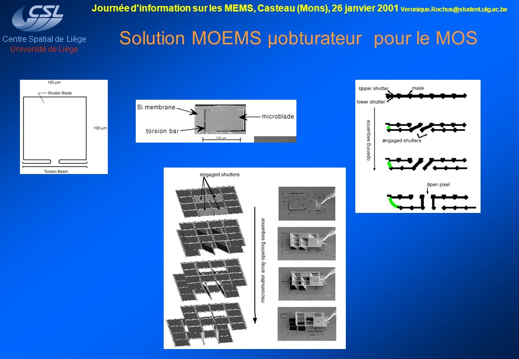Solution MOEMS µobturateur pour le MOS