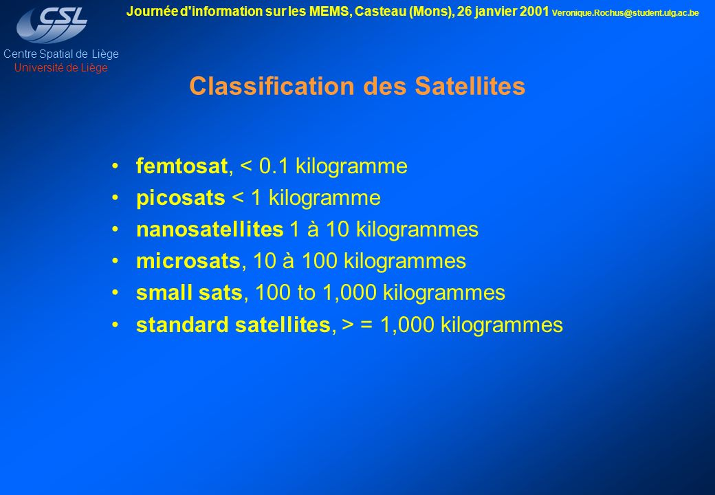 Classification des Satellites