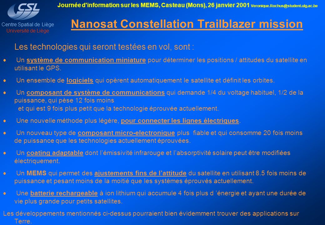 Nanosat Constellation Trailblazer mission