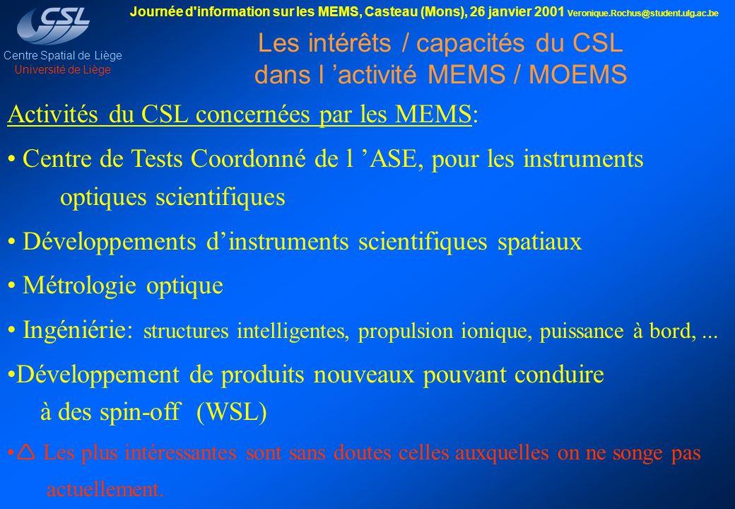 Les intérêts / capacités du CSL dans l 'activité MEMS / MOEMS