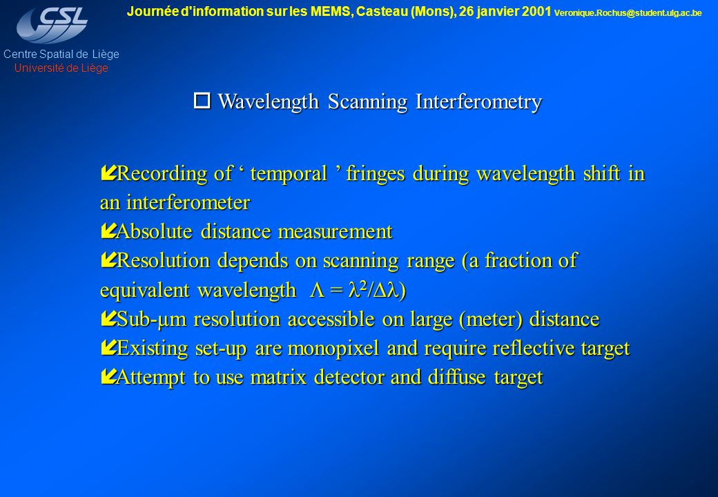 Wavelength Scanning Interferometry