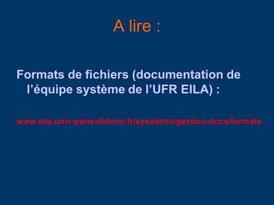A lire : Formats de fichiers (documentation de l'équipe système de l'UFR EILA) : www.eila.univ-paris-diderot.fr/sysadmin/gestion-docs/formats.
