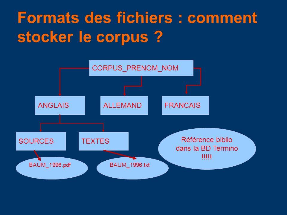 Formats des fichiers : comment stocker le corpus
