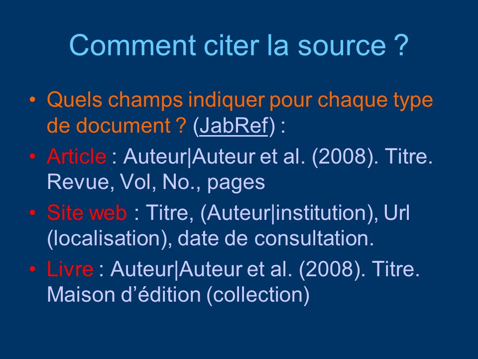 Comment citer la source