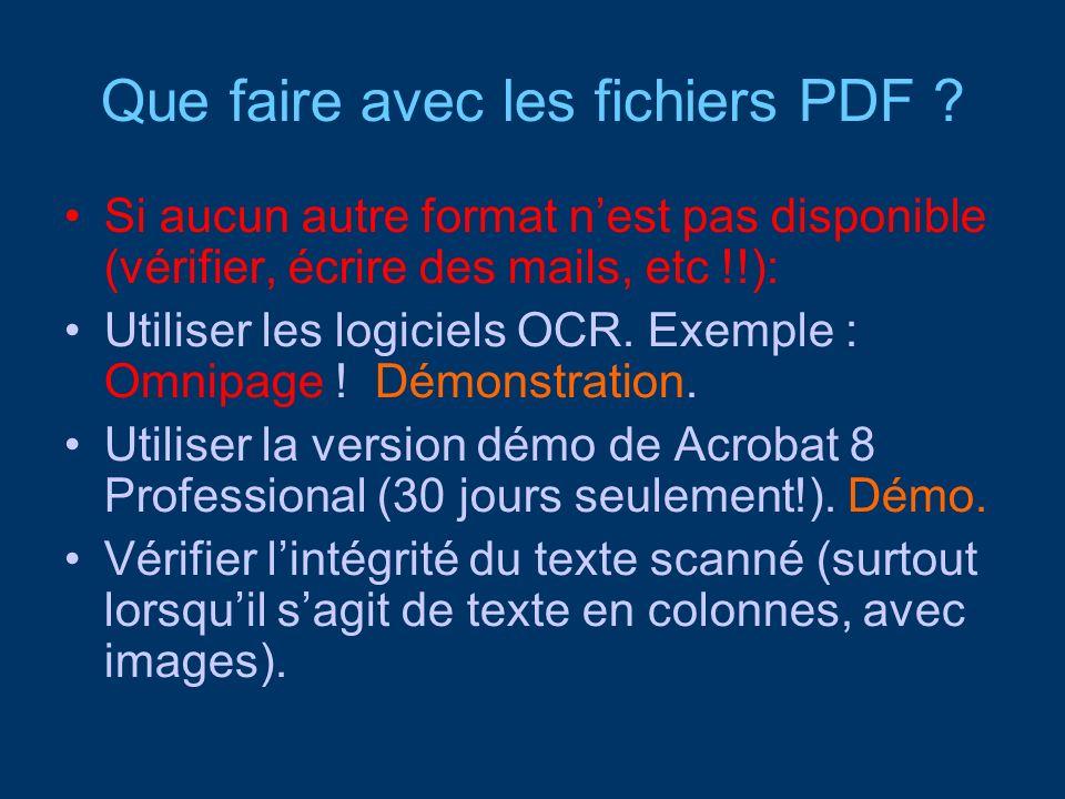 Que faire avec les fichiers PDF
