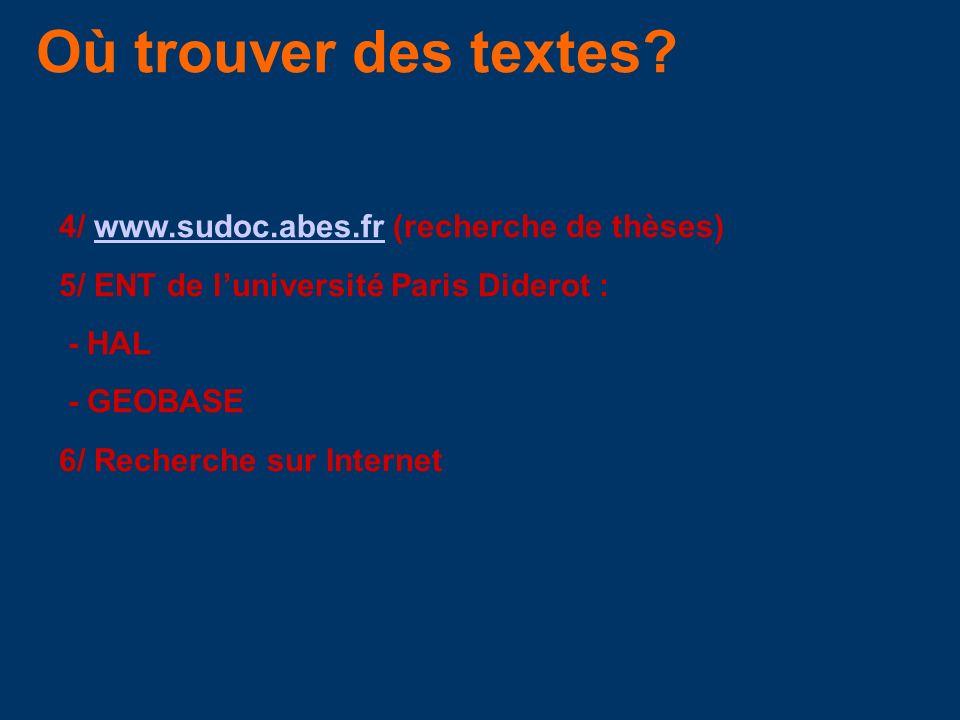 Où trouver des textes 4/ www.sudoc.abes.fr (recherche de thèses)