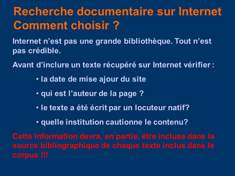 Recherche documentaire sur Internet Comment choisir