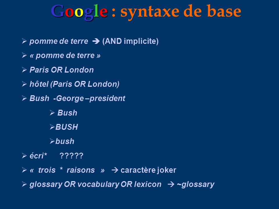 Google : syntaxe de base