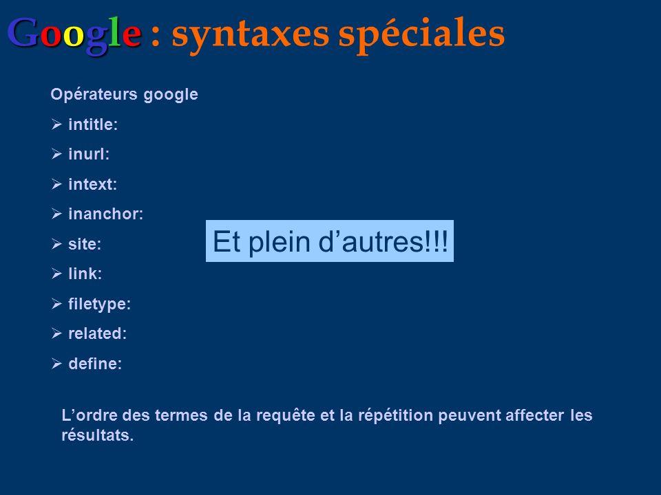 Google : syntaxes spéciales