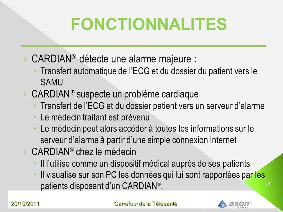 FONCTIONNALITES CARDIAN® détecte une alarme majeure :