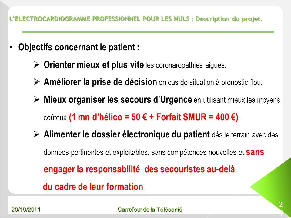 Objectifs concernant le patient :