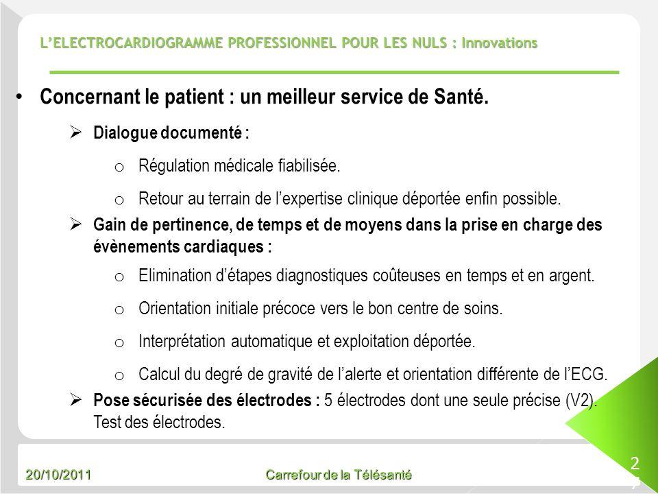 Concernant le patient : un meilleur service de Santé.