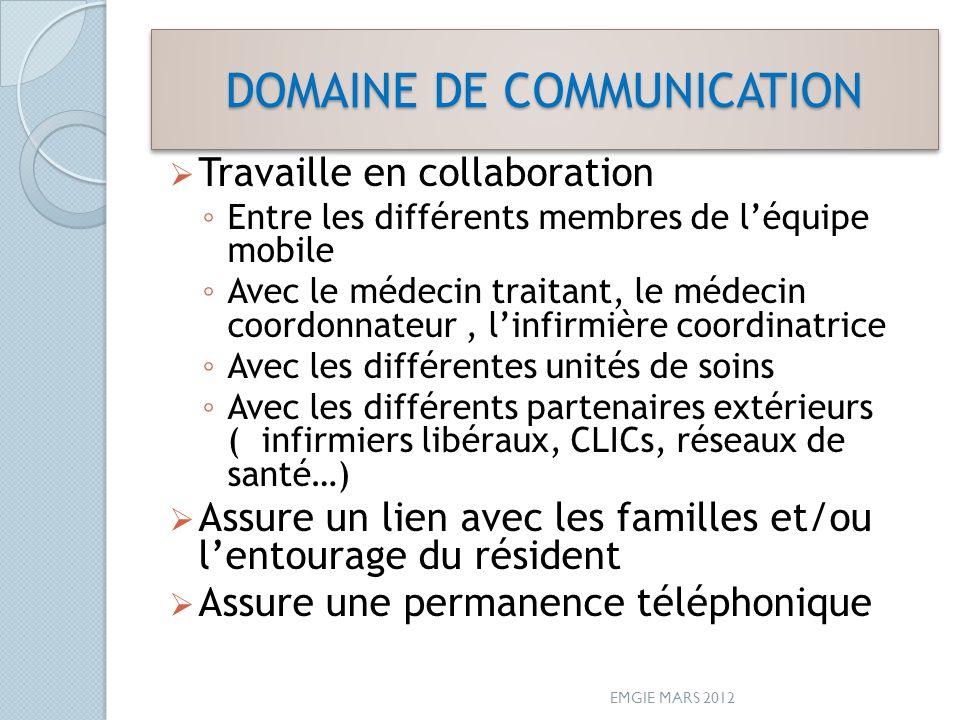 DOMAINE DE COMMUNICATION