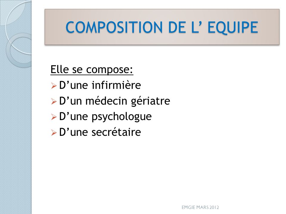 COMPOSITION DE L' EQUIPE
