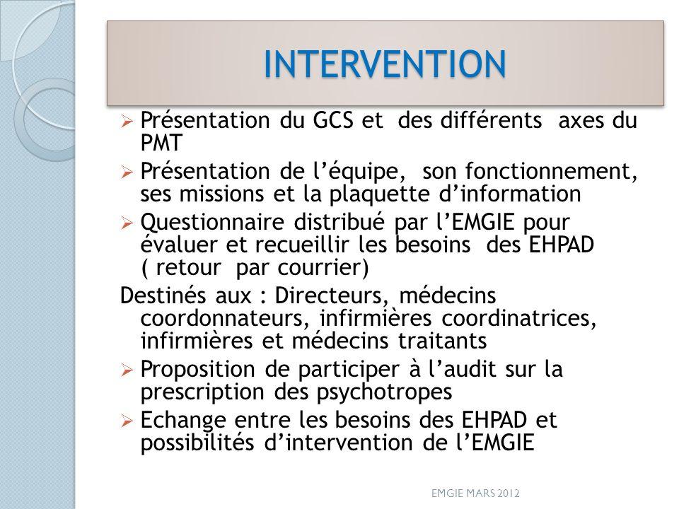 INTERVENTION Présentation du GCS et des différents axes du PMT