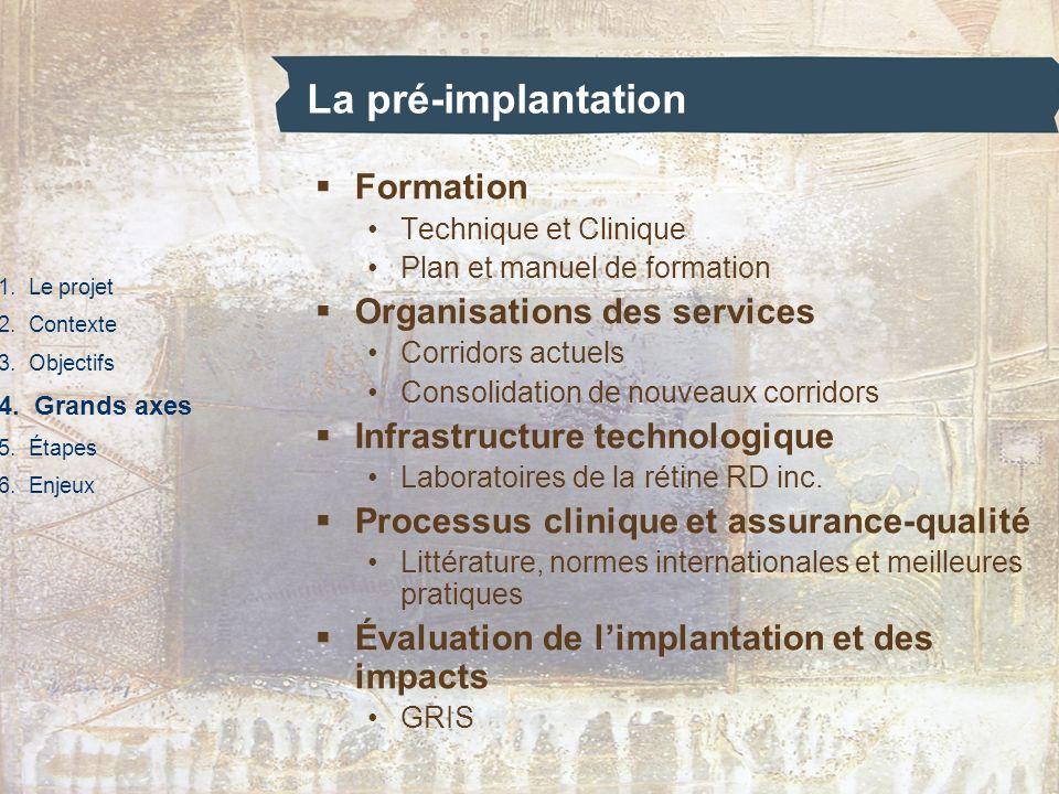 La pré-implantation Formation Organisations des services