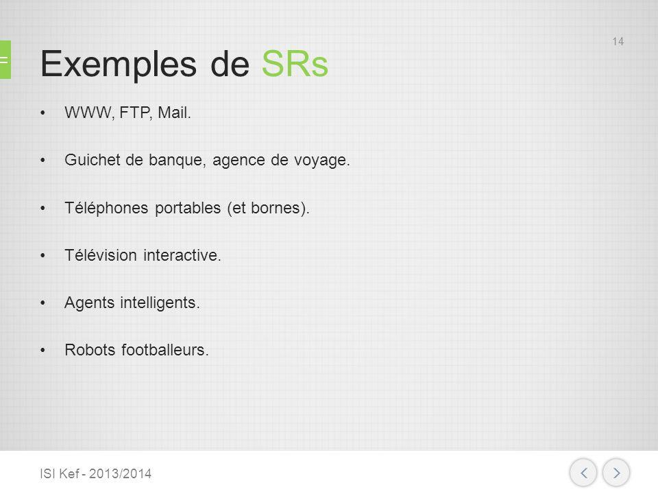 Exemples de SRs WWW, FTP, Mail. Guichet de banque, agence de voyage.