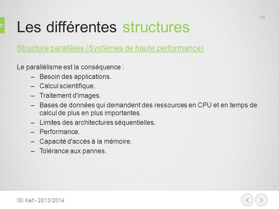 Les différentes structures