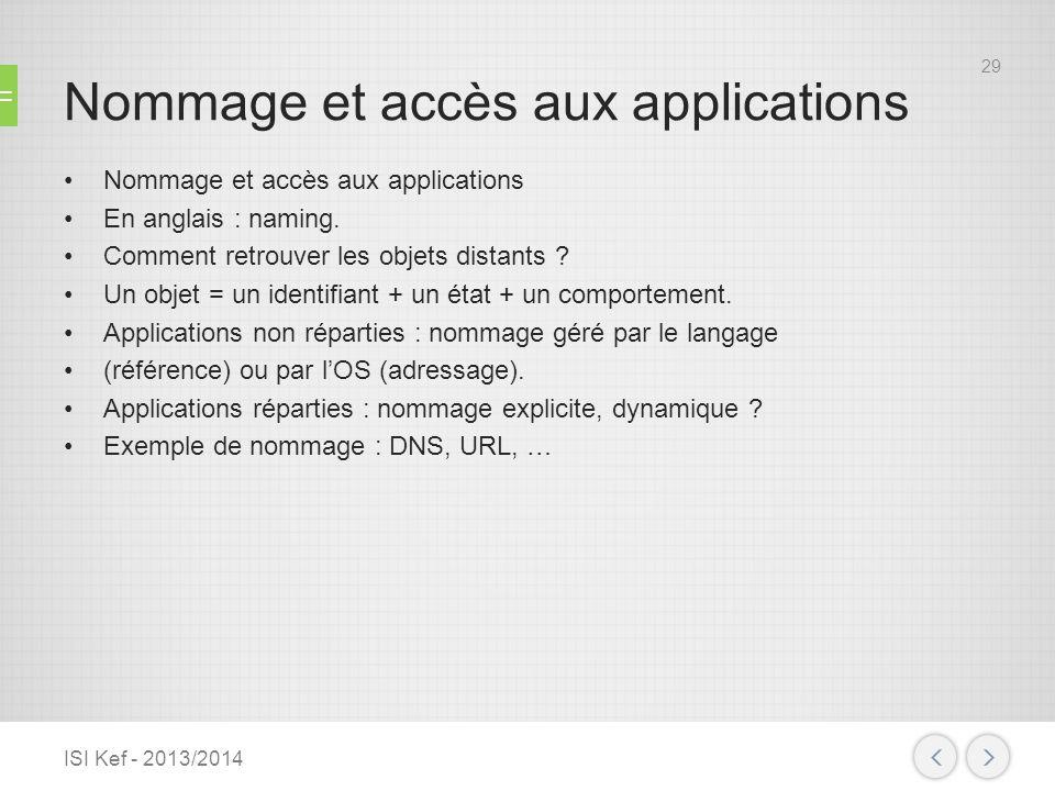 Nommage et accès aux applications