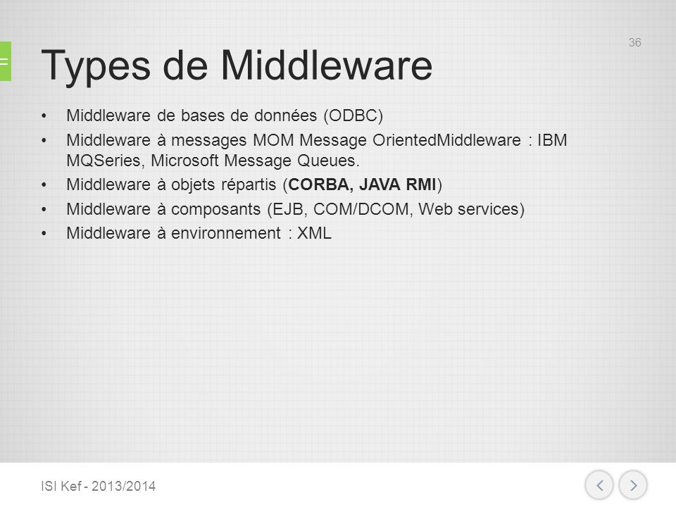 Types de Middleware Middleware de bases de données (ODBC)