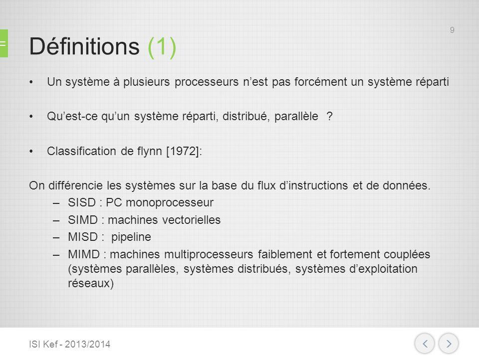 Définitions (1) Un système à plusieurs processeurs n'est pas forcément un système réparti. Qu'est-ce qu'un système réparti, distribué, parallèle
